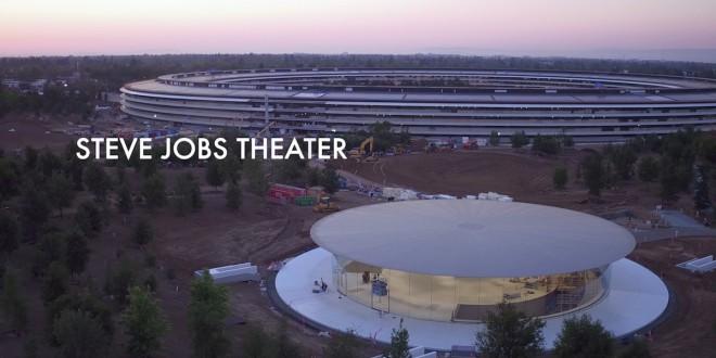 Drone mostra os preparativos do lançamento do iphone 8 no Steve Jobs Theater